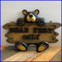 Big Sky Carvers Jeff Fleming Bearfoots Bear Feet Only Sign Sculpture Cabin Decor