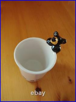 Big Sky Carvers Jeff Fleming Bearfoots Black Bear Bathroom Tumbler Cup Paw Print
