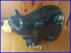 Big Sky Carvers Jeff Fleming Bearfoots Black Bear Ceramic Coin Piggy Bank