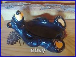 Big Sky Carvers Jeff Fleming Bearfoots Black Bear Ceramic Soap Dish