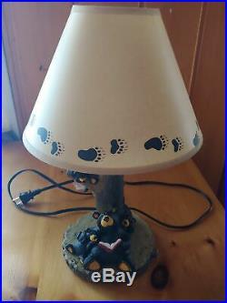 Big Sky Carvers Jeff Fleming Bearfoots Black Bear Cubs Log Lamp & Shade