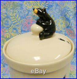 Big Sky Carvers Jeff Fleming Bearfoots Black Bear Large Canister Cookie Jar
