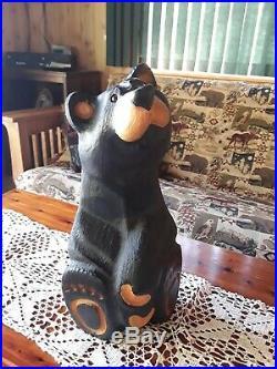 Big Sky Carvers Jeff Fleming Bearfoots Black Bear Wood Carved Pine Sculpture EUC