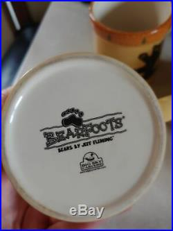 Big Sky Carvers Jeff Fleming Bearfoots Hap Black Bear Tree Mug Lot Set