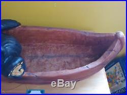 Big Sky Carvers Jeff Fleming Bearfoots Lazy River Grand Black Bear Canoe Statue