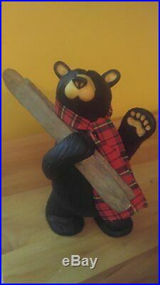 Big Sky Carvers Jeff Fleming Bearfoots Rare Al Pine Skis Black Bear Figurine