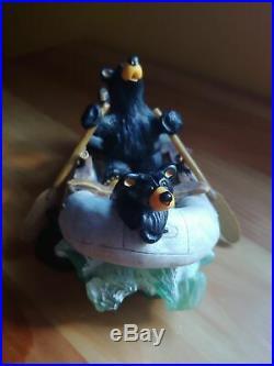 Big Sky Carvers Jeff Fleming Bearfoots River Rafters Black Bear Boat Figurine
