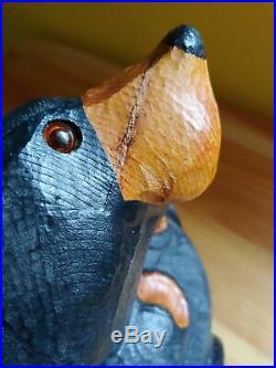 Big Sky Carvers Jeff Fleming Bearfoots Rosie Wood Carved Black Bear Statue