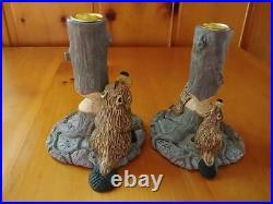 Big Sky Carvers Jeff Fleming Bearfoots Timber Beaver Taper Candle Holder Set