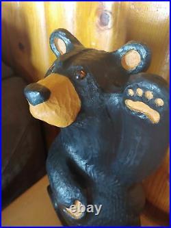 Big Sky Carvers Jeff Fleming Bearfoots Waving Black Bear Pine Sculpture