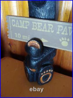 Big Sky Carvers Jeff Fleming Bearfoots Wood Black Bear Sign Holder Sculpture