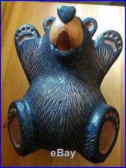 Big Sky Carvers Jeff Fleming Bearfoots Wood Carved Black Bear On Back Sculpture