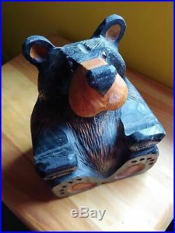 Big Sky Carvers Jeff Fleming Bearfoots Wood Carved Black Bear Sign Holder