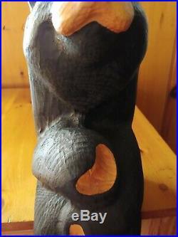 Big Sky Carvers Jeff Fleming Bearfoots Wood Shelf Sitter Black Bear Sculpture