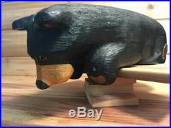Big Sky Carvers Jeff Fleming Black Bear Wood Carving Looking down 14 H