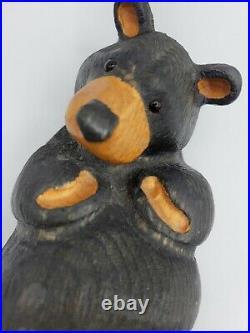 Big Sky Carvers Jeff Fleming Black Bear Wood Carving Sculpture Chillin' Bear 11