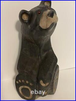 Big Sky Carvers Jeff Fleming Hand Carved Sitting Wood Bear Jeffrey 16 T