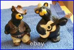 Big Sky Carvers Jim Fleming Bearfoots Gunslinger & Guitar Playing Cowboy Bears