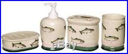 Big Sky Carvers Rainbow Trout Soap Dish Lotion Tooth Brush Hldr Rinse Cup Set