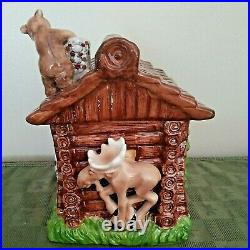 Big Sky Carvers Ranger Station Bears Moose Log Cabin Ceramic Cookie Jar RARE