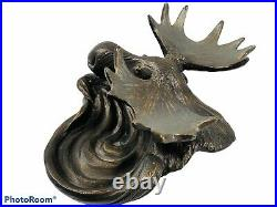 Big Sky Carvers Solid Carved Moose Ashtray Tray Spoon Rest Holder