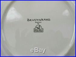 Big Sky Carvers Stoneware Brushwerks Moose & Bear 4 Salad Plates 8.5 Unused 1s7