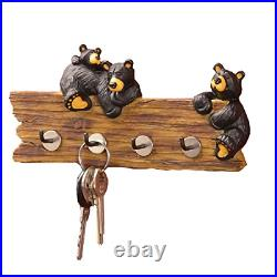 Black Bear Family 3.5 x 7.5 Hand-cast Resin Figurine Key Holder