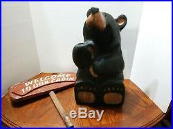 Black Bear Jeff Fleming Big Sky Bears Carvers Montana Solid Pine Carved Welcome