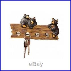 Black Bear Key Holder Cabin Wall Hooks Rustic Lodge Key Caddy Big Sky Carvers