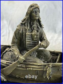 Bronze Big Sky Carvers Sculpture Canoe Trip Bear Bears Cub Indian Hotcast Figure