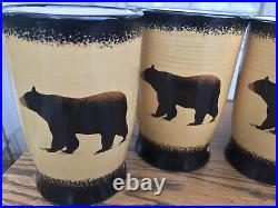 Brushwerks Big Sky Carvers Bear Mugs Set of 4 Stoneware 16 Oz. 5 1/2