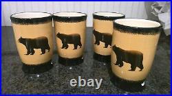 Brushwerks Big Sky Carvers Bear Mugs Set of 4 Stoneware 16 Oz. Cabin Mountains