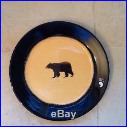 Brushwerks Stoneware Big Sky Carvers Bear 10 3/4 Large Dinner Plates Set Of 2