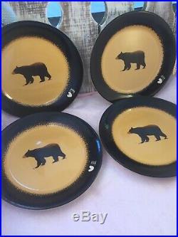 Brushwerks Stoneware Big Sky Carvers Bear Salad Plates 8 1/2 Set of 4 NWT #171