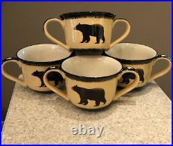 Brushwerks Stoneware Big Sky Carvers Bears Double Handle Soup Mugs Set Of 4 EUC