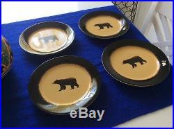 Brushwerks Stoneware by Big Sky Carvers Log Cabin Dinnerware Bear 4 Salad Plates & Big Sky Bear » Brushwerks Stoneware by Big Sky Carvers Log Cabin ...