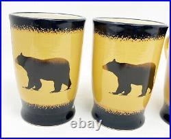 Brushwerks Stoneware by Big Sky Carvers Set of 4 18oz Handcrafted Bear Mugs