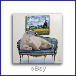 Daily Oil Painting Polar Bear VanGogh Cypress Landscape Big Sky Sofa Applegate