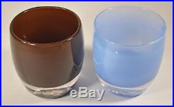 Glassybaby Lot of 2 Candle Holders brown little bear and blue big sky