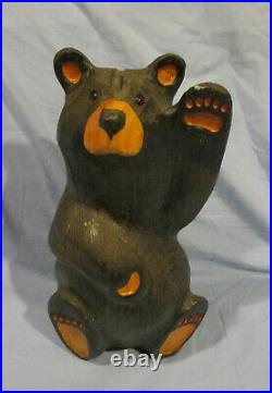 Hand Carved Wood Bear Waving Mikey Big Sky Carvers