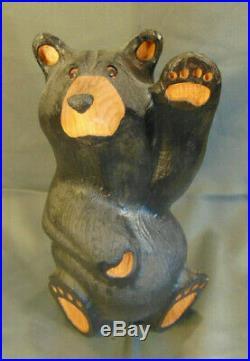 Hand carved Big Sky Bears figurine western pine Montana 13 folk art statue wave