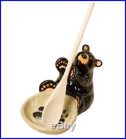 Jeff Fleming BearFoots Bear Ceramic Spoon Holder Set by Big Sky Carvers
