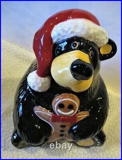 Jeff Fleming BigSky Carvers BearFoots Santa Bear withGingerbread Man Cookie Jar