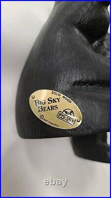 Jeff Fleming Big Sky Bears Thinker Solid WoodBig Sky Carvers Brass Plate