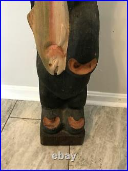 Jeff Fleming Carved Bear with Fish Lou Big Sky Carvers Bear Solid Wood 33 T