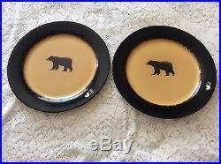 Lot 6 Brushwerks Moose-Bear Stoneware by Big Sky Carvers Dinner-Bowl-Salad Plate