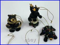 Lot Of 5 Big Sky Carver Bearfoot Black Bear Christmas Ornament Jeff Fleming