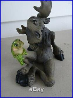 Lot of 4 Bearfoots Big Sky Carvers Mooses Figurines, Golf, Frog, Bird, 2002