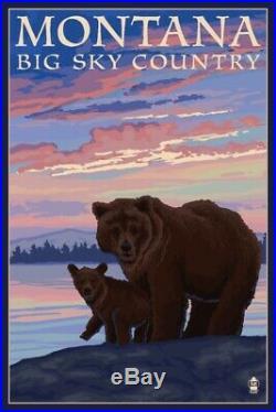 MT Big Sky Country Bear & Cub LP Artwork (24x36 Giclee Print)