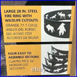 NEW 28 Black Big Sky Wildlife Bear Moose Deer Steel Fire Ring Outdoor Wood Burn